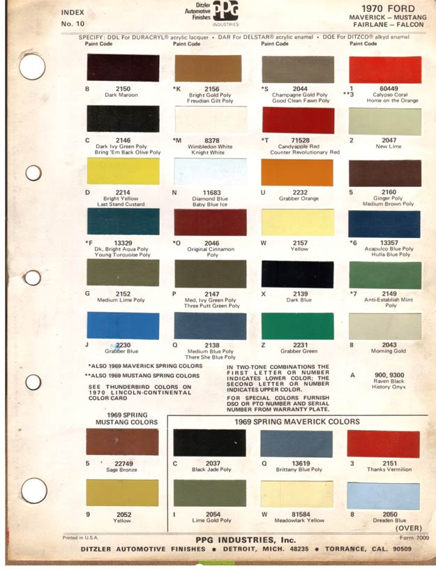 1969 ford paint codes